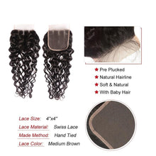 Load image into Gallery viewer, Super Double Drawn Water Wave Hair Bundles With Closure Pre Plucked