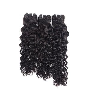 Super Double Drawn Water Wave Hair Bundles With Closure Pre Plucked