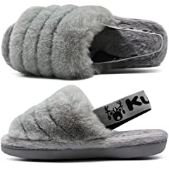 KUAILU Womens Fuzzy Slippers Fluffy Open Toe Slides with Cozy Memory Foam Comfy Plush Slip on Furry Faux Fur Sandals
