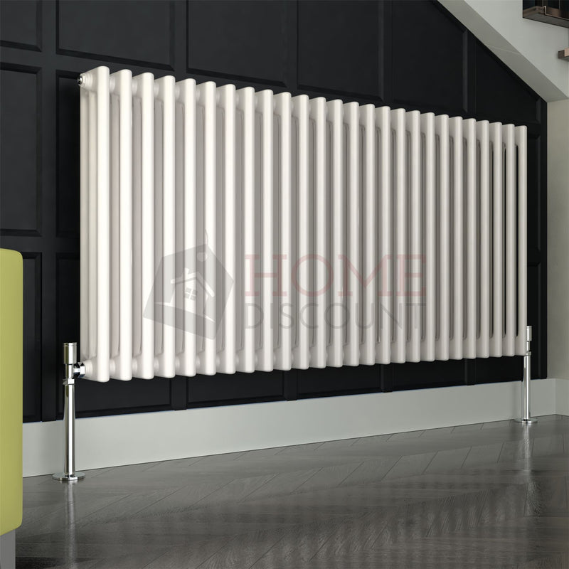Verona Round 3 Column Traditional Radiator, 60 x 117, White