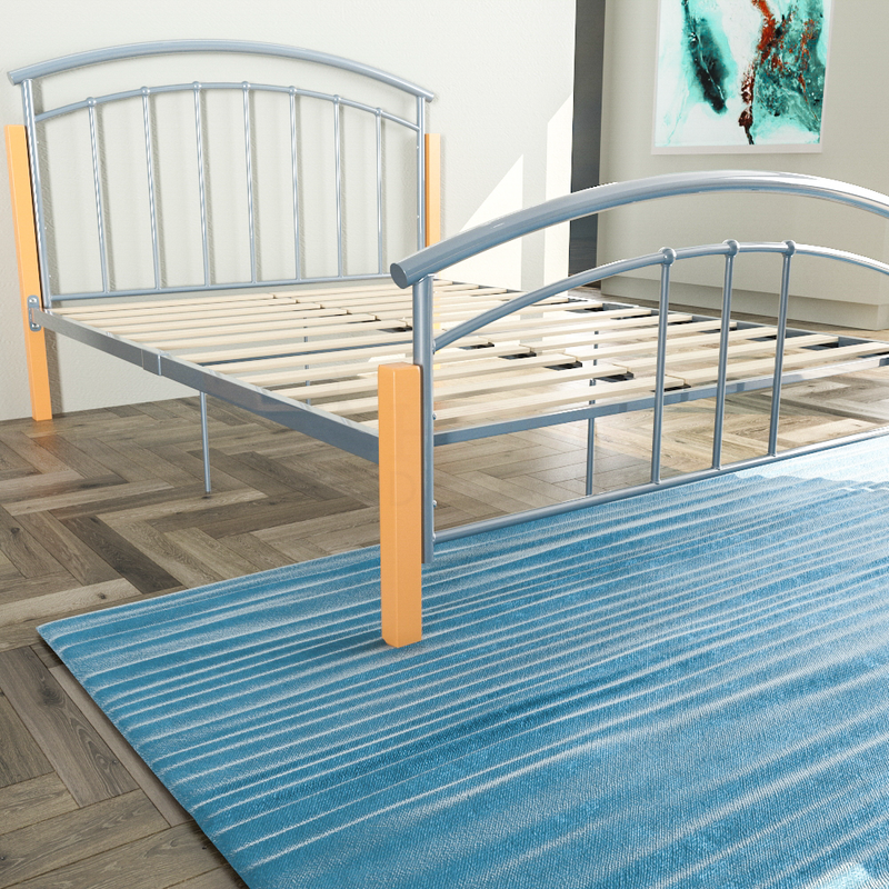 Venice Double Metal & Wood Bed, Silver