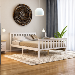 Milan Double Wooden Bed, High Foot, White