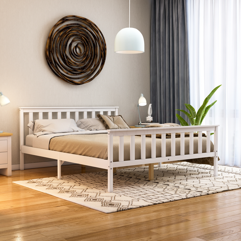 Milan King Size Wooden Bed, High Foot, White