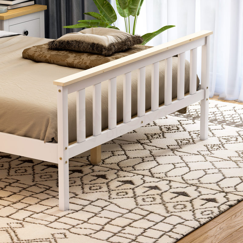 Milan Double Wooden Bed, High Foot, White & Pine