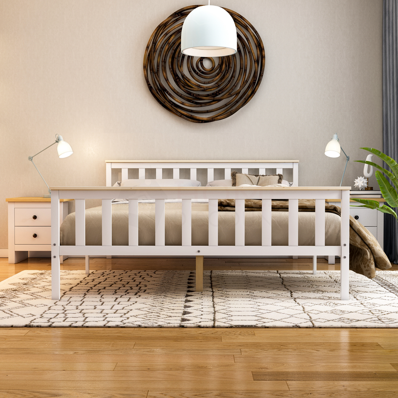 Milan King Size Wooden Bed, High Foot, White & Pine