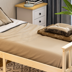 Milan Single Wooden Bed, High Foot, Pine