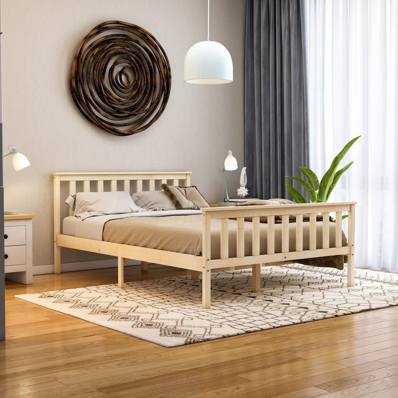 Milan Double Wooden Bed, High Foot, Pine