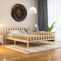 Milan King Size Wooden Bed, High Foot, Pine