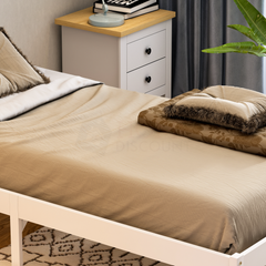 Milan Single Wooden Bed, Low Foot, White