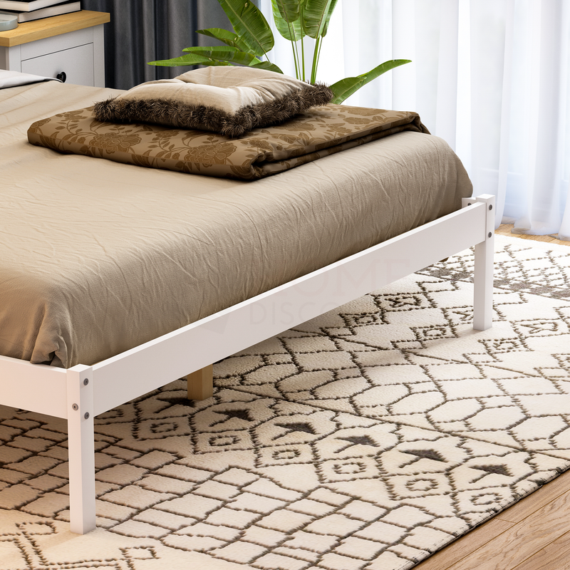Milan King Size Wooden Bed, Low Foot, White
