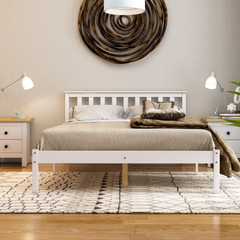 Milan Double Wooden Bed, Low Foot, White & Pine