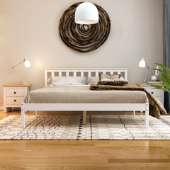 Milan King Size Wooden Bed, Low Foot, White & Pine