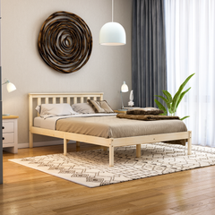 Milan Double Wooden Bed, Low Foot, Pine