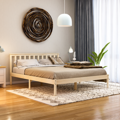 Milan King Size Wooden Bed, Low Foot, Pine