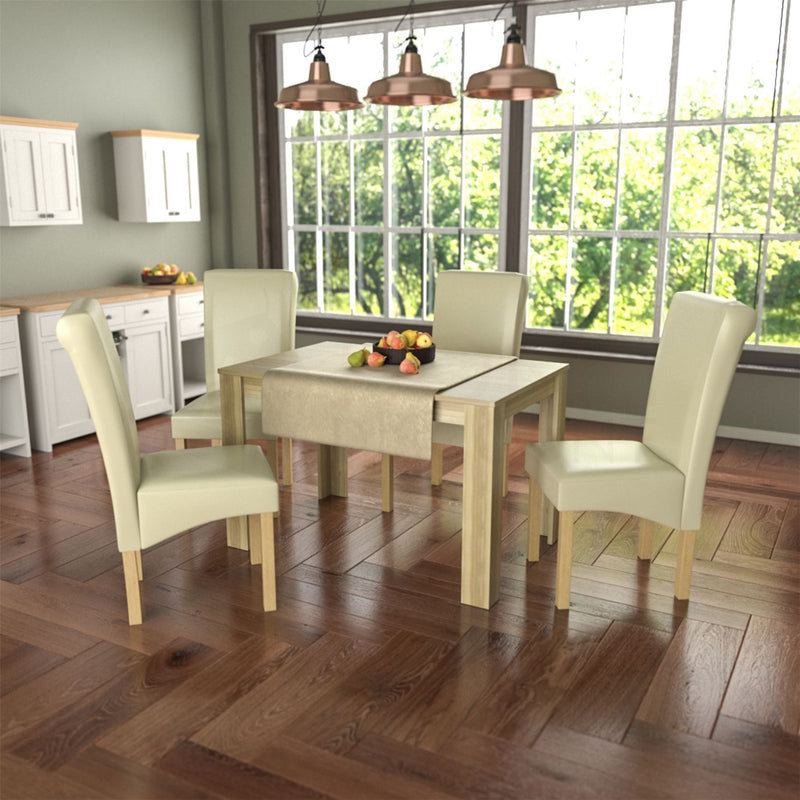 Medina 4 Seat Dining Table, Oak & Clifton Set of 4 Dining Chairs, Cream