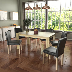 Medina 6 Seat Dining Table, Oak & Canterbury Set of 6 Dining Chairs, Black & Oak