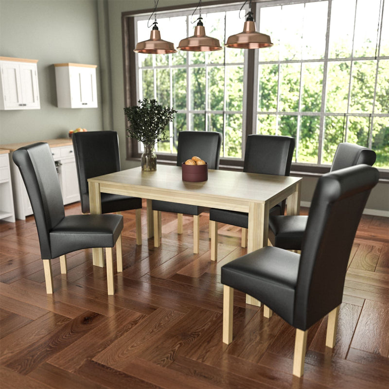 Medina 6 Seat Dining Table, Oak & Clifton Set of 6 Dining Chairs, Black