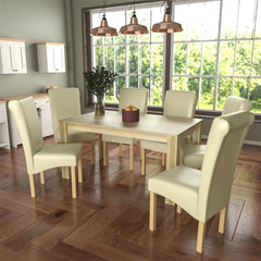 Medina 6 Seat Dining Table, Oak & Clifton Set of 6 Dining Chairs, Cream
