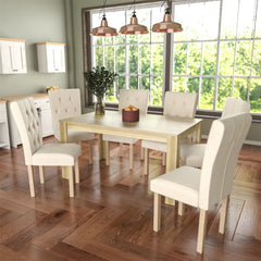 Medina 6 Seat Dining Table, Oak & Horton Set of 6 Dining Chairs, Cream & Oak