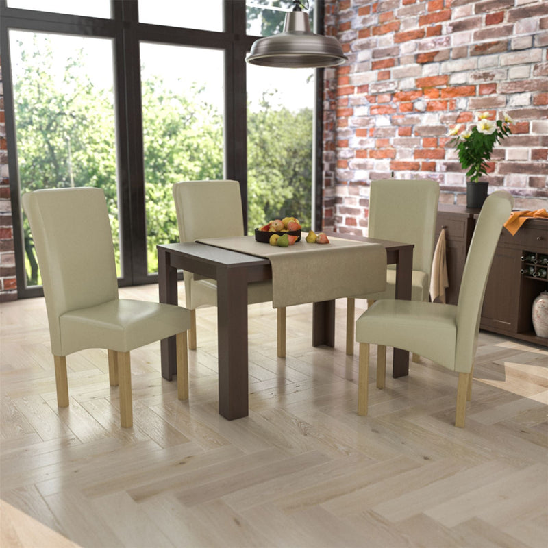 Medina 4 Seat Dining Table, Walnut & Clifton Set of 4 Dining Chairs, Cream