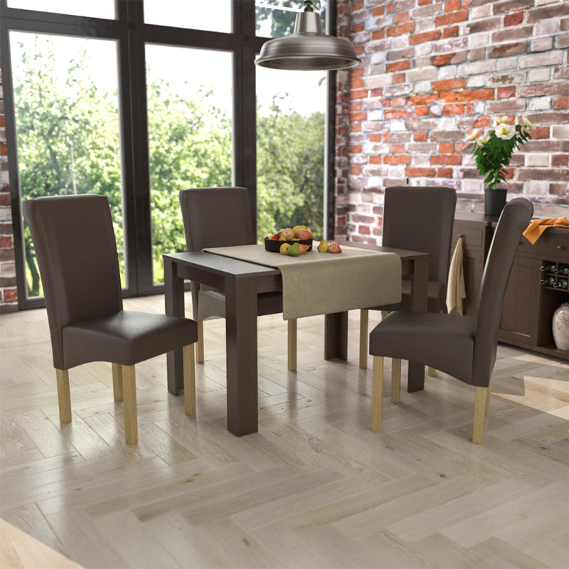 Medina 4 Seat Dining Table, Walnut & Clifton Set Of 4 PU Dining Chairs, Brown