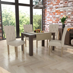 Medina 4 Seat Dining Table, Walnut & Horton Set of 4 Dining Chairs, Cream & Oak