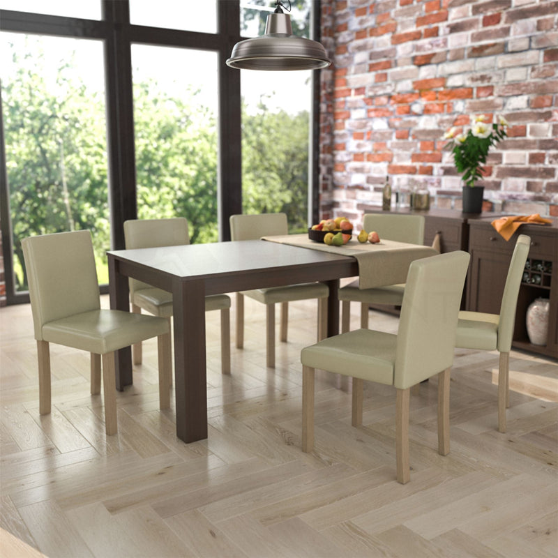Medina 6 Seat Dining Table, Walnut & Canterbury Set of 6 Dining Chairs, Cream & Oak