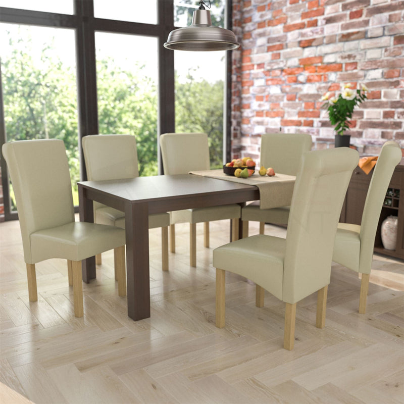 Medina 6 Seat Dining Table, Walnut & Clifton Set of 6 Dining Chairs, Cream