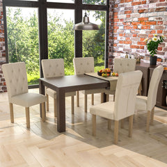 Medina 6 Seat Dining Table, Walnut & Horton Set of 6 Dining Chairs, Cream & Oak