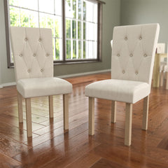 Horton Set Of 2 Fabric Dining Chairs, Cream & Oak