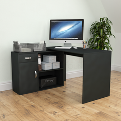 Longton Adjustable Computer Desk, Black