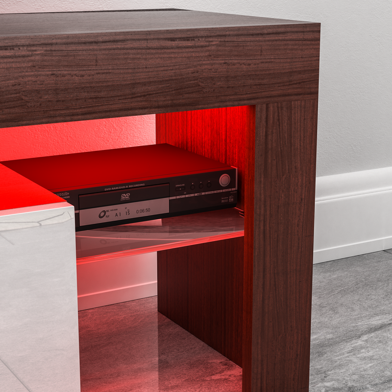 Luna 1 Drawer LED TV Unit, Walnut & White