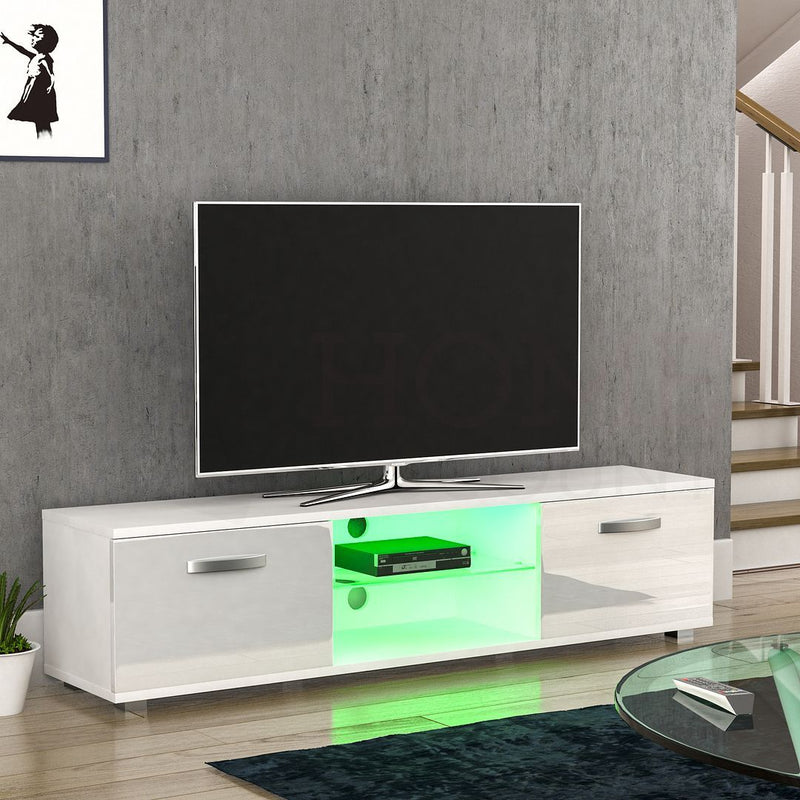 Cosmo 2 Door LED TV Unit, 160cm, White