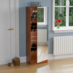 Kirkham Mirrored Shoe Cabinet, 150cm, Walnut