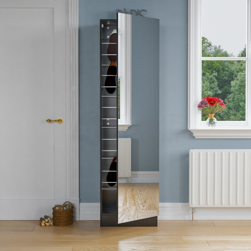 Kirkham Mirrored Shoe Cabinet, 180cm, Black