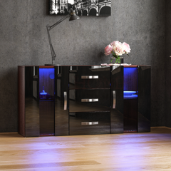 Astro 2 Door 3 Drawer LED Sideboard, Walnut & Black