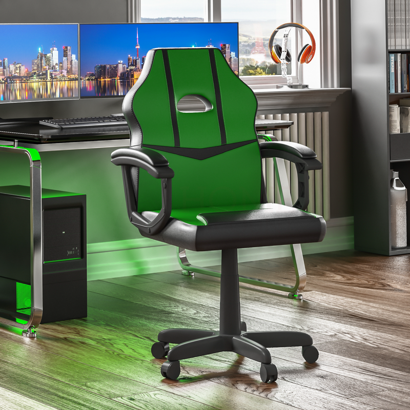 Comet Racing Gaming Chair, Green & Black