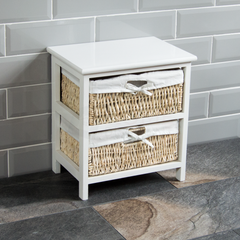 White Maize Storage Unit, 2 Drawer