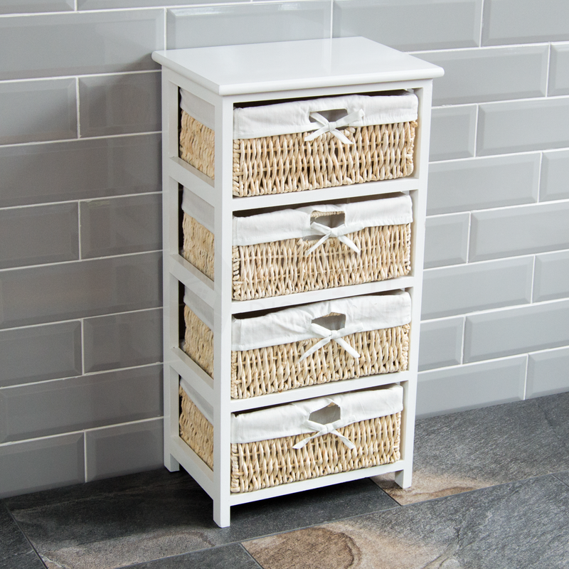 White Maize Storage Unit, 4 Drawer