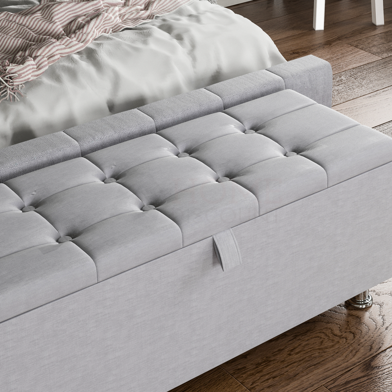 Valencia Storage Ottoman, Light Grey Linen