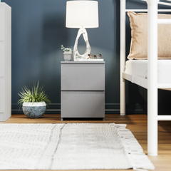 Denver 2 Drawer Bedside Chest, Grey
