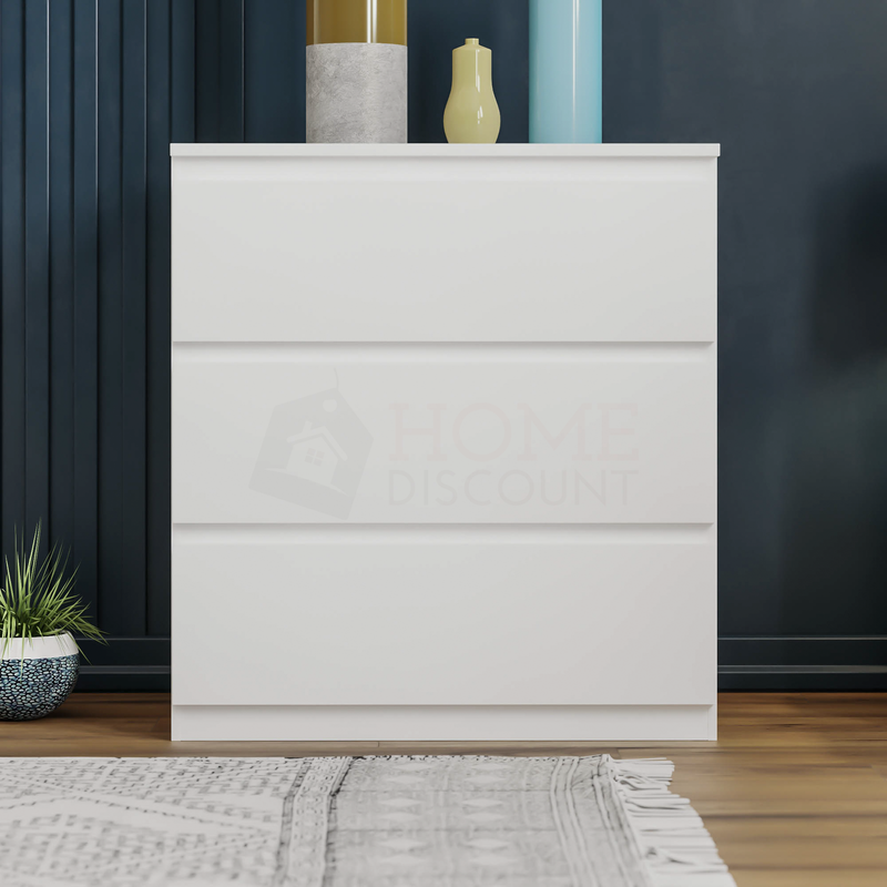 Denver 3 Drawer Chest, White