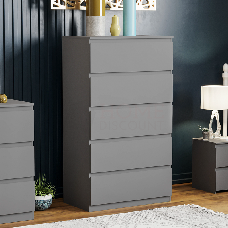 Denver 5 Drawer Chest, Grey