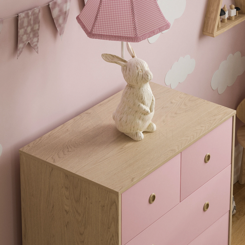 Neptune 5 Drawer Chest, Pink & Oak