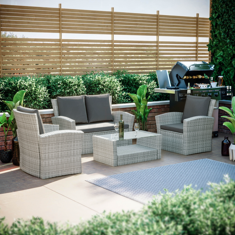 Mylor 4 Seater Rattan Set, Grey