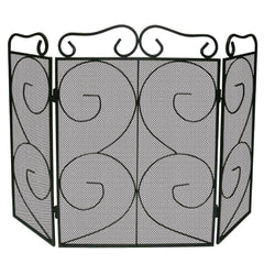 Tapton 3 Panel Fire Guard, Black