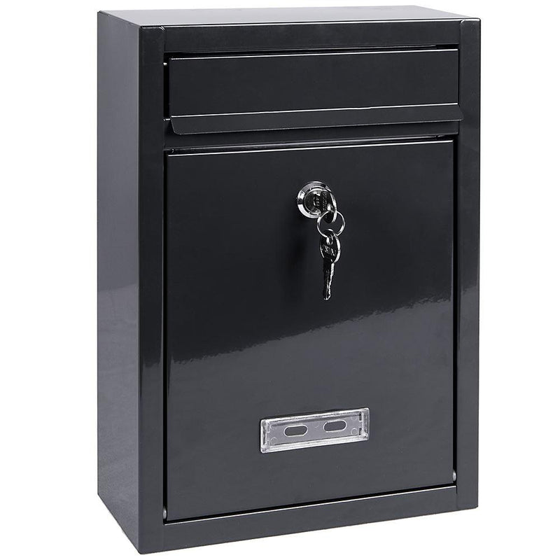 Square Steel Post Box, Grey