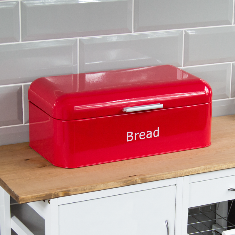 Curved Bread Bin, Red