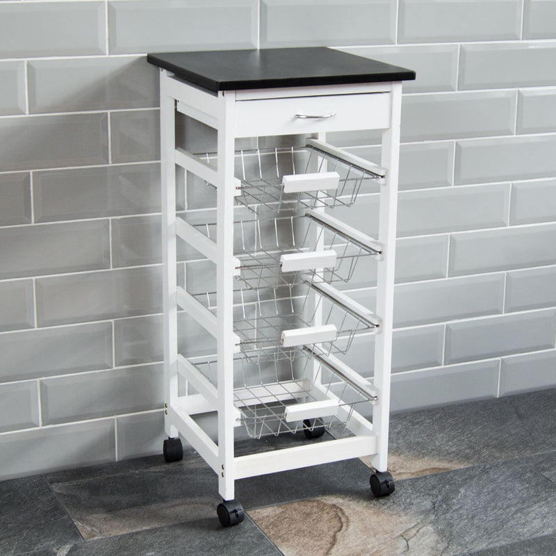 4 Tier Wooden Kitchen Trolley, White
