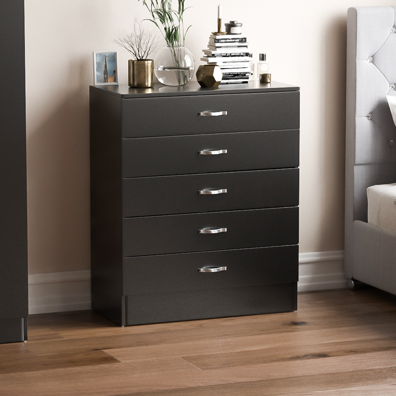 Riano 5 Drawer Chest, Black